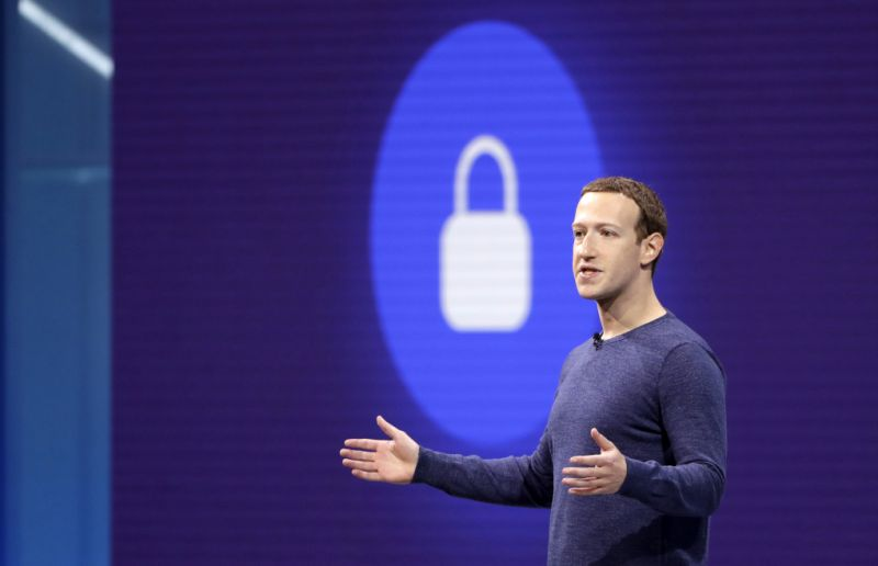 "FILE- In this May 1, 2018, file photo, Facebook CEO Mark Zuckerberg makes the keynote speech at F8, Facebook's developer conference in San Jose, Calif. Facebook says it recently discovered a security breach affecting nearly 50 million user accounts. In a blog post, Friday, Sept. 28, the company says hackers exploited its ""View As"" feature, which lets people see what their profiles look like to someone else. Facebook says it has taken steps to fix the security problem and alerted law enforcement. (AP Photo/Marcio Jose Sanchez, File)"