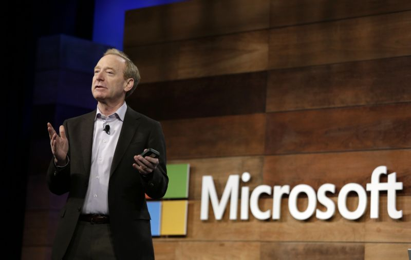 Microsoft president Brad Smith speaks at the annual Microsoft shareholders meeting Wednesday, Nov. 29, 2017, in Bellevue, Wash. (AP Photo/Elaine Thompson)