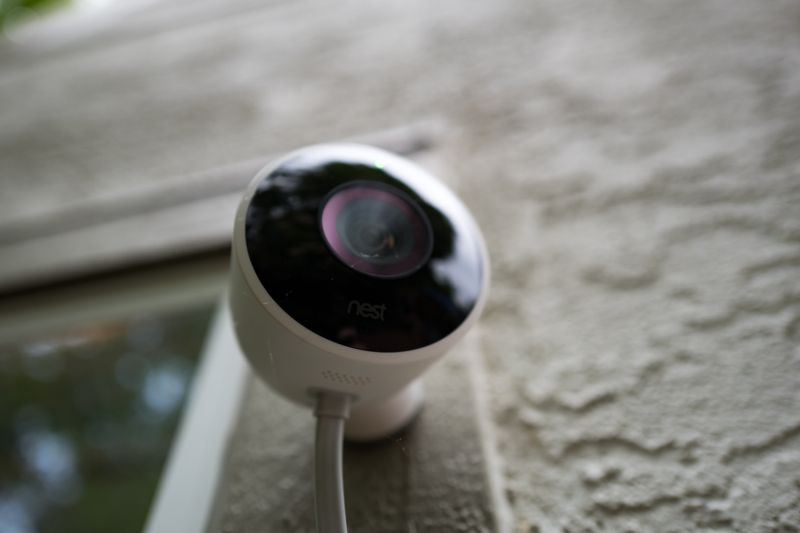 Close-up of weatherproof outdoor Nest home surveillance camera from Google Inc installed in a smart home in San Ramon, California, August 21, 2018. (Photo by Smith Collection/Gado/Getty Images)