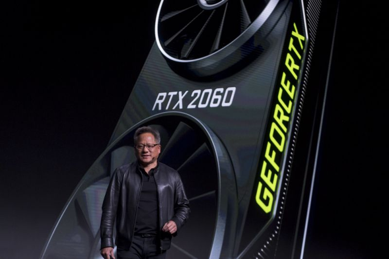 Jen-Hsun Huang, president and chief executive officer of Nvidia Corp., speaks during the company's event at the 2019 Consumer Electronics Show (CES) in Las Vegas, Nevada, U.S., on Sunday, Jan. 6, 2019. CES showcases more than 4,500 exhibiting companies, including manufacturers, developers and suppliers of consumer technology hardware, content, technology delivery systems and more. Photographer: David Paul Morris/Bloomberg via Getty Images