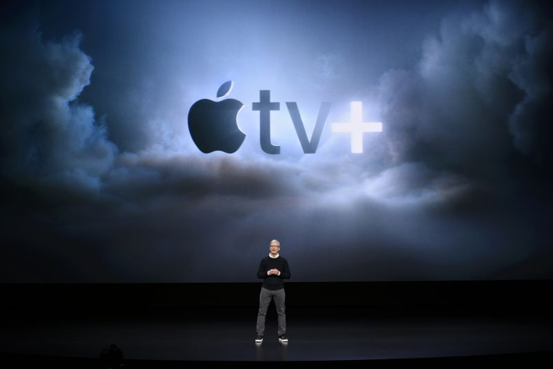 Apple today debuted its new Apple TV Plus streaming service (Photo by Michael Short/Getty Images)