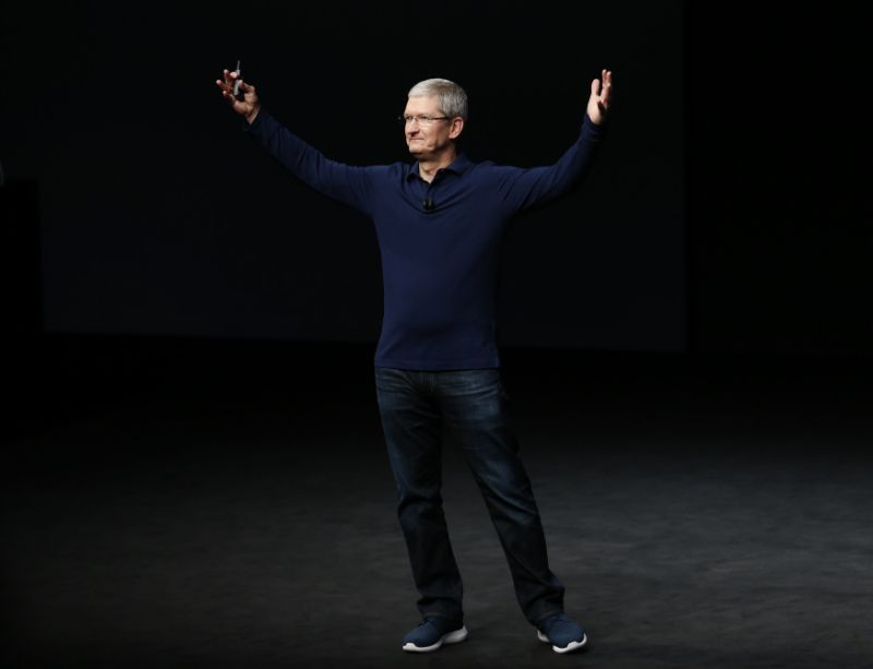 Apple Inc CEO Tim Cook makes his closing remarks during an Apple media event in San Francisco, California, U.S. September 7, 2016. REUTERS/Beck Diefenbach