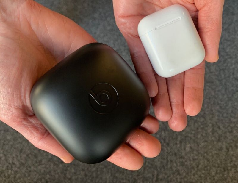 The Powerbeats Pro have a far larger case than the AirPods. (Image: Dan Howley)
