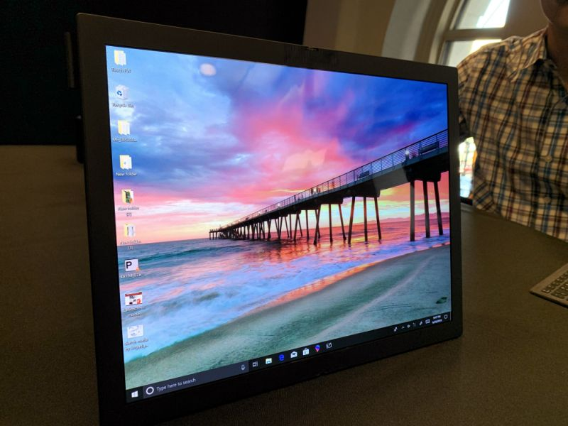 The X1 prototype features a 13.3-inch folding display, and can be used with a bluetooth keyboard. (Image: Dan Howley)