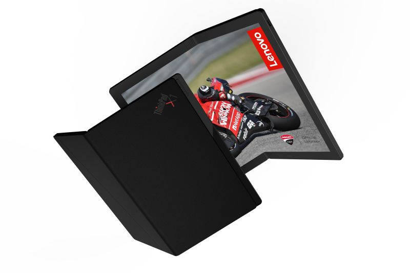 A rendering of the Lenovo prototype X1 foldable laptop. (Image: Lenovo)