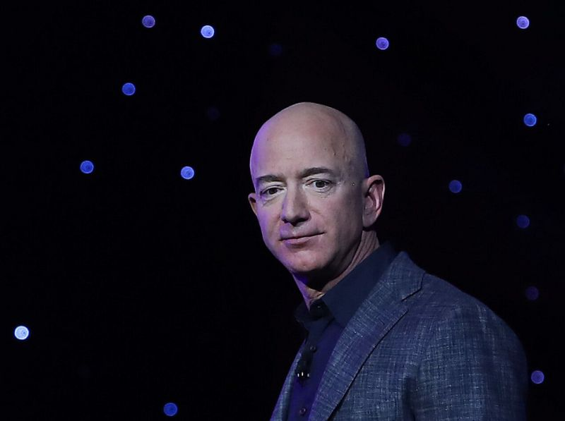 WASHINGTON, DC - MAY 09: Jeff Bezos, owner of Blue Origin, introduces a new lunar landing module called Blue Moon during an event at the Washington Convention Center, May 9, 2019 in Washington, DC. Bezos said the module will be used to land humans the moon once again. (Photo by Mark Wilson/Getty Images)