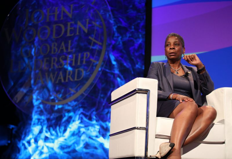 IMAGE DISTRIBUTED FOR UCLA ANDERSON - Ursula Burns, chairman and CEO, Xerox Corporation, recipient of the 2015 John Wooden Global Leadership Award, speaks at the Eighth Annual John Wooden Global Leadership Award Dinner at the Beverly Wilshire hotel on Tuesday, October 6, 2015, in Beverly Hills, Calif. (Photo by Matt Sayles/Invision for UCLA Anderson/AP Images)