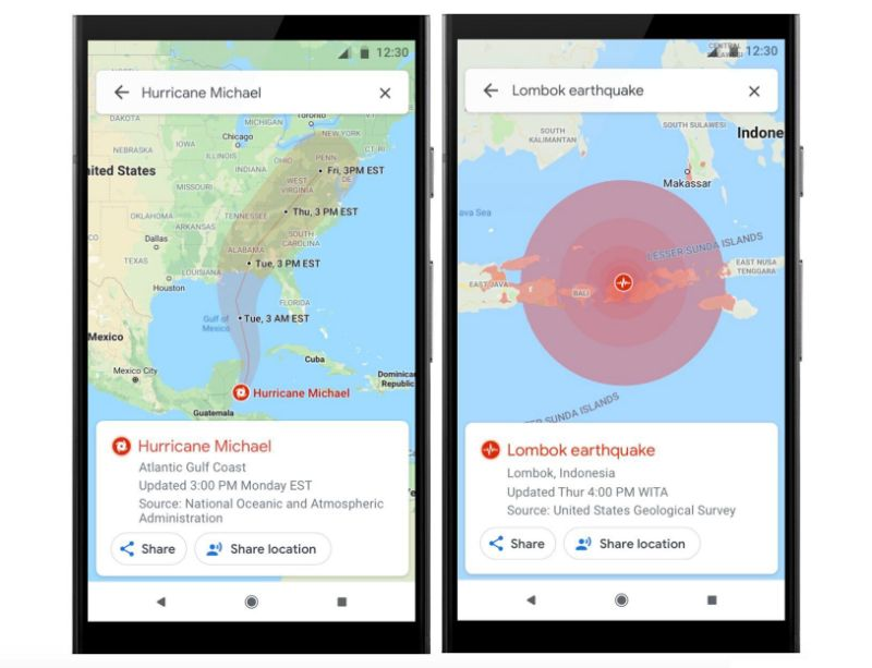 Google is adding SOS Alerts to Maps, which will provide users with hurricane paths and earthquake impact areas. (Image: Google)