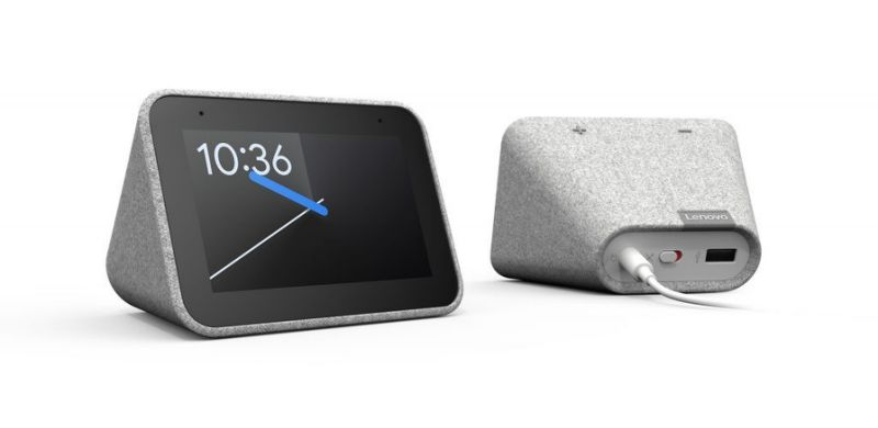 The Smart Clock has a cloth body that helps it blend into your bedroom. (Image: Lenovo)