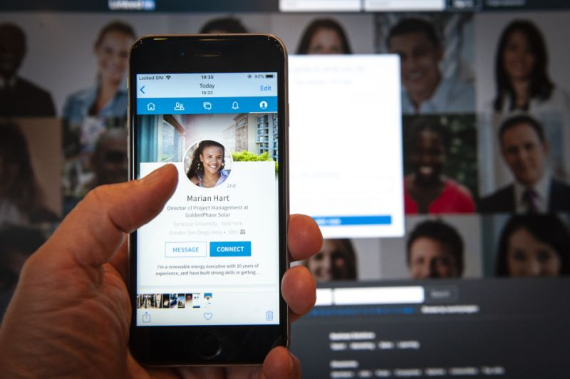 An iPhone running the LinkedIn application is seen in this photo illustration on July 9, 2018. (Photo by Jaap Arriens/NurPhoto via Getty Images)