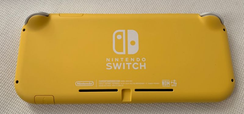 The rear of the Nintendo Switch Lite. Notice that it lacks a kickstand unlike the standard Switch. (Image: Howley)