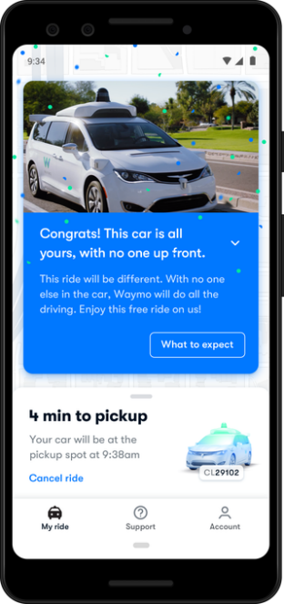 waymo Driverless notification