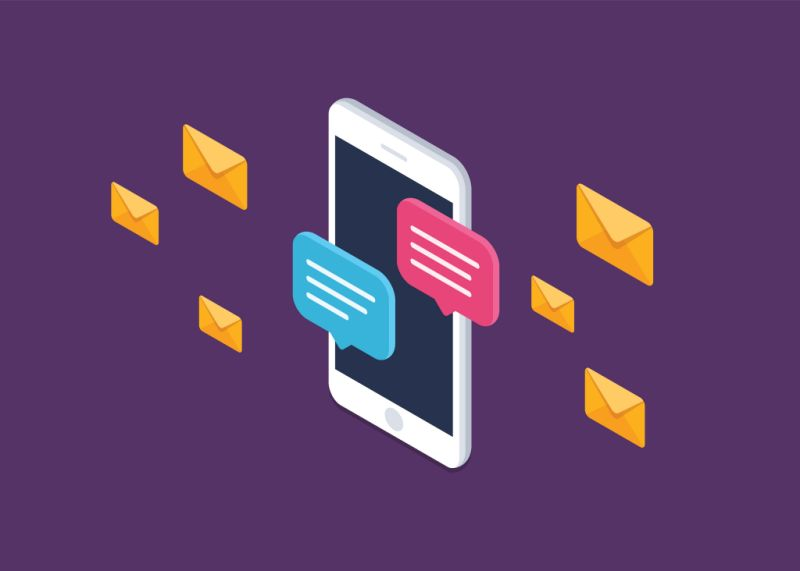 Mobile phone chat message notifications vector icon isolated line outline, smartphone chatting bubble speeches pictogram, concept of online talking, speak messaging, conversation, dialog symbol, isometric illustration.