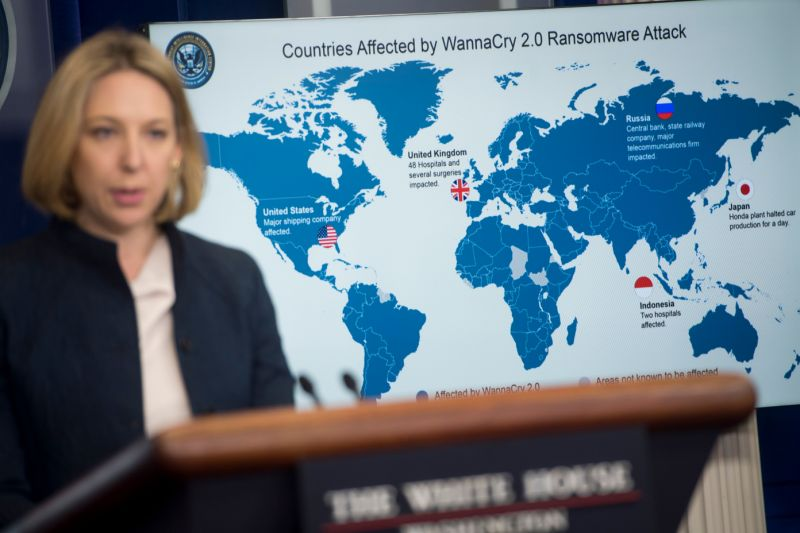 Jeanette Manfra, chief cybersecurity official for the Department of Homeland Security (DHS), speaks about the Wannacry virus as they announce that the US believes North Korea was behind the cyber attack, during a briefing at the White House in Washington, DC, December 19, 2017. / AFP PHOTO / SAUL LOEB (Photo credit should read SAUL LOEB/AFP via Getty Images)